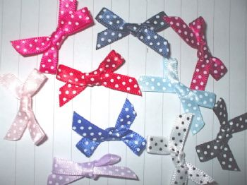 7mm Polka Dot Satin Bows  Choice of Colour